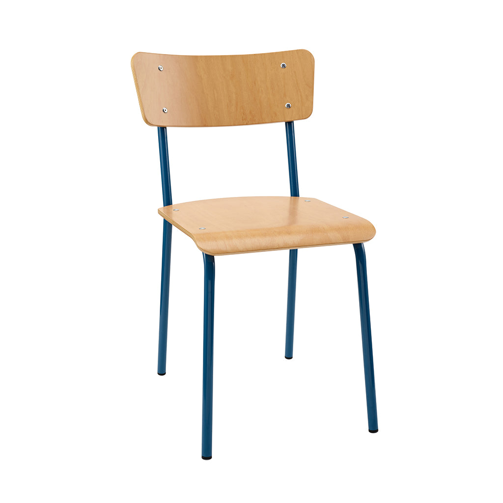 Vintage Industrial Classic School Chair In Natural Beech And Blue