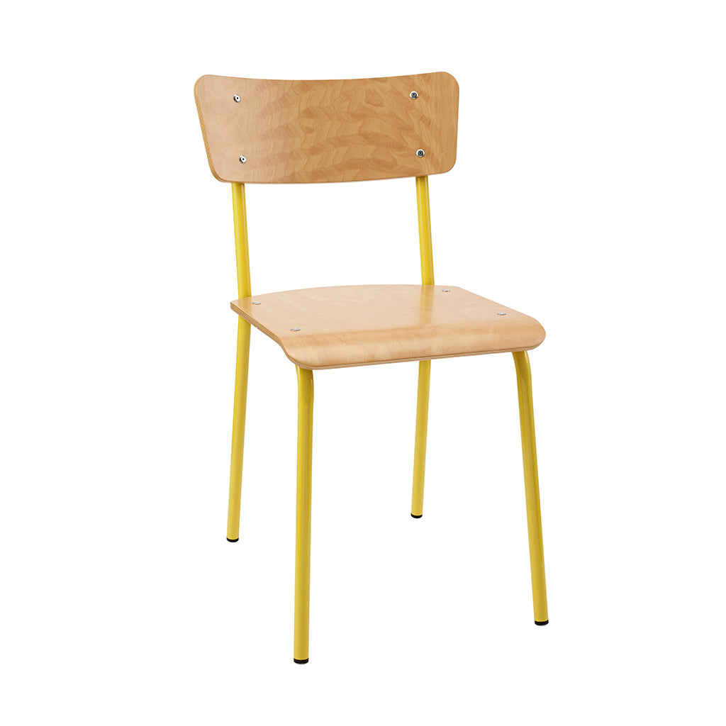 Vintage Industrial Classic School Chair In Natural Beech And Yellow