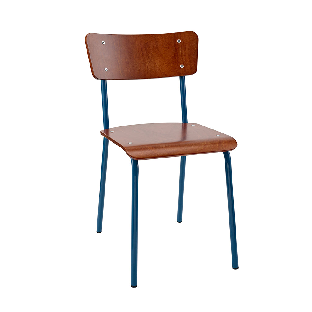 Vintage Industrial Classic School Chair In Rich Mahogany And Blue