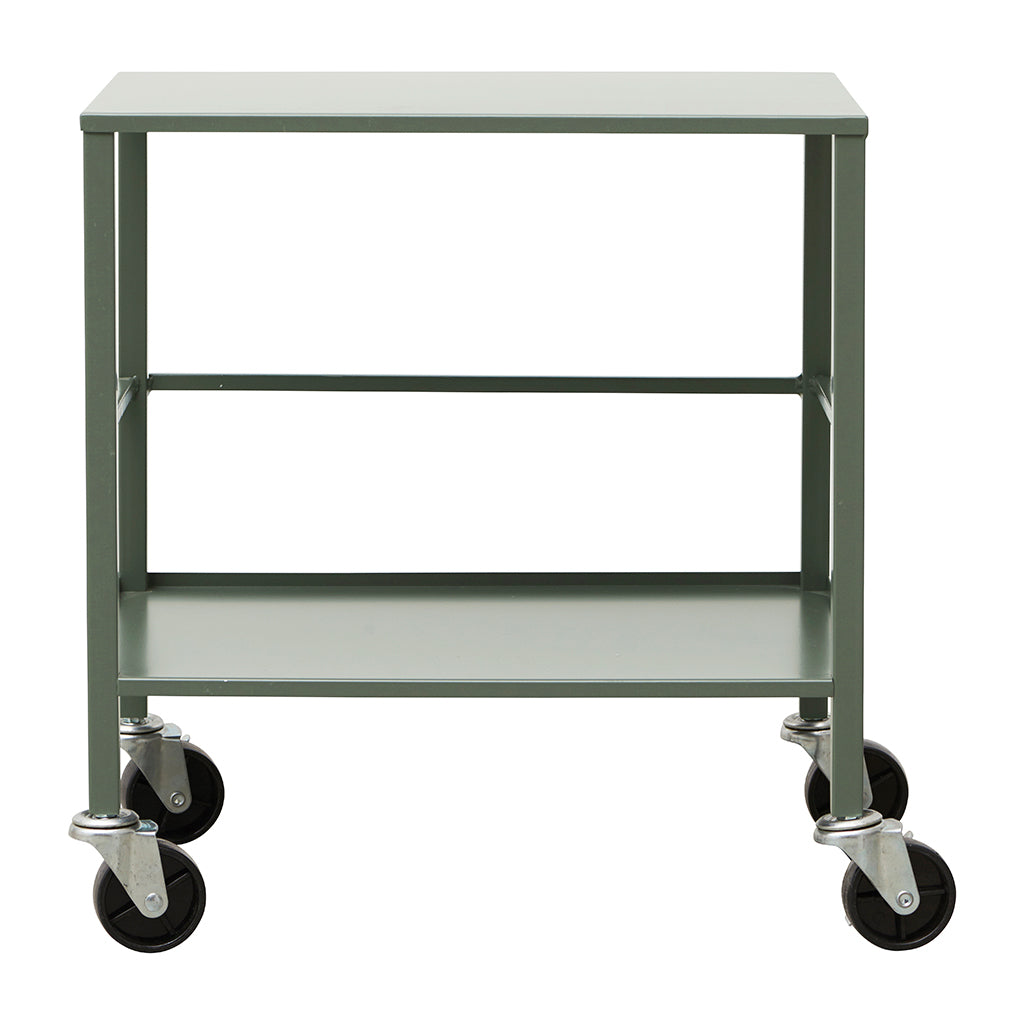 Industrial Style Office Utility Trolley In Army Green