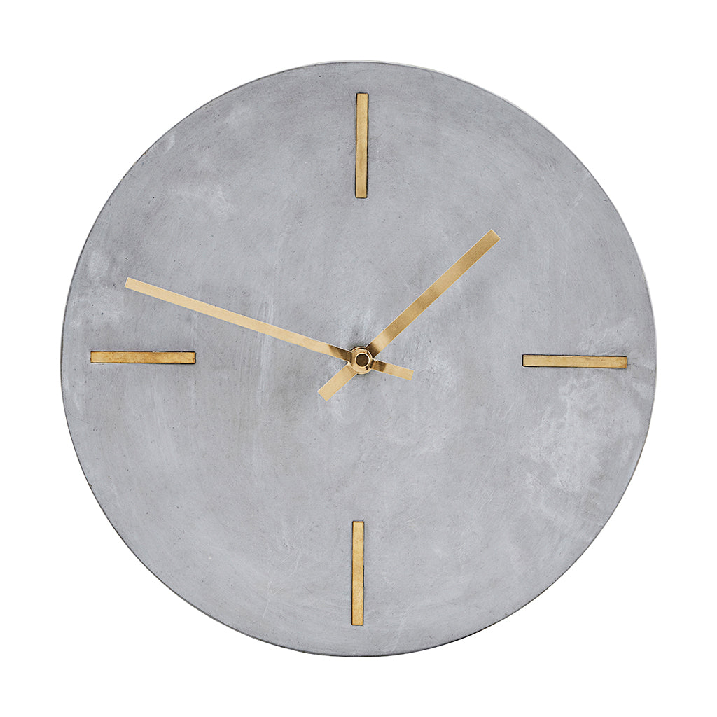 Industrial Concrete Wall Clock With Inlaid Brass Detail