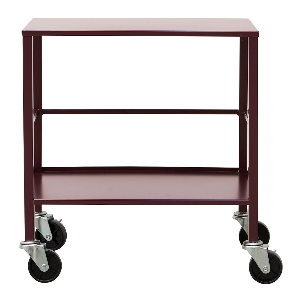 Industrial Style Office Utility Trolley In Wine Red