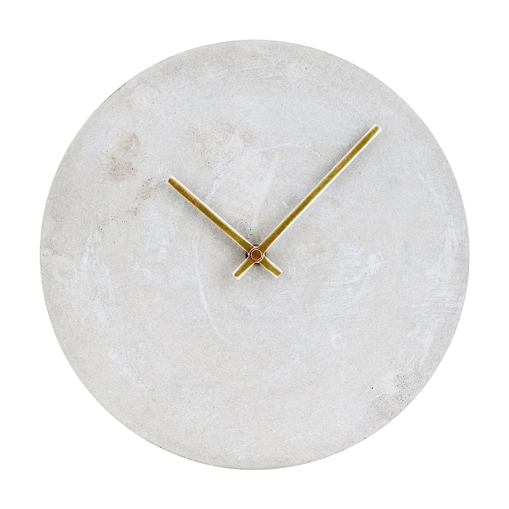 Industrial Concrete Wall Clock With Brass Handles