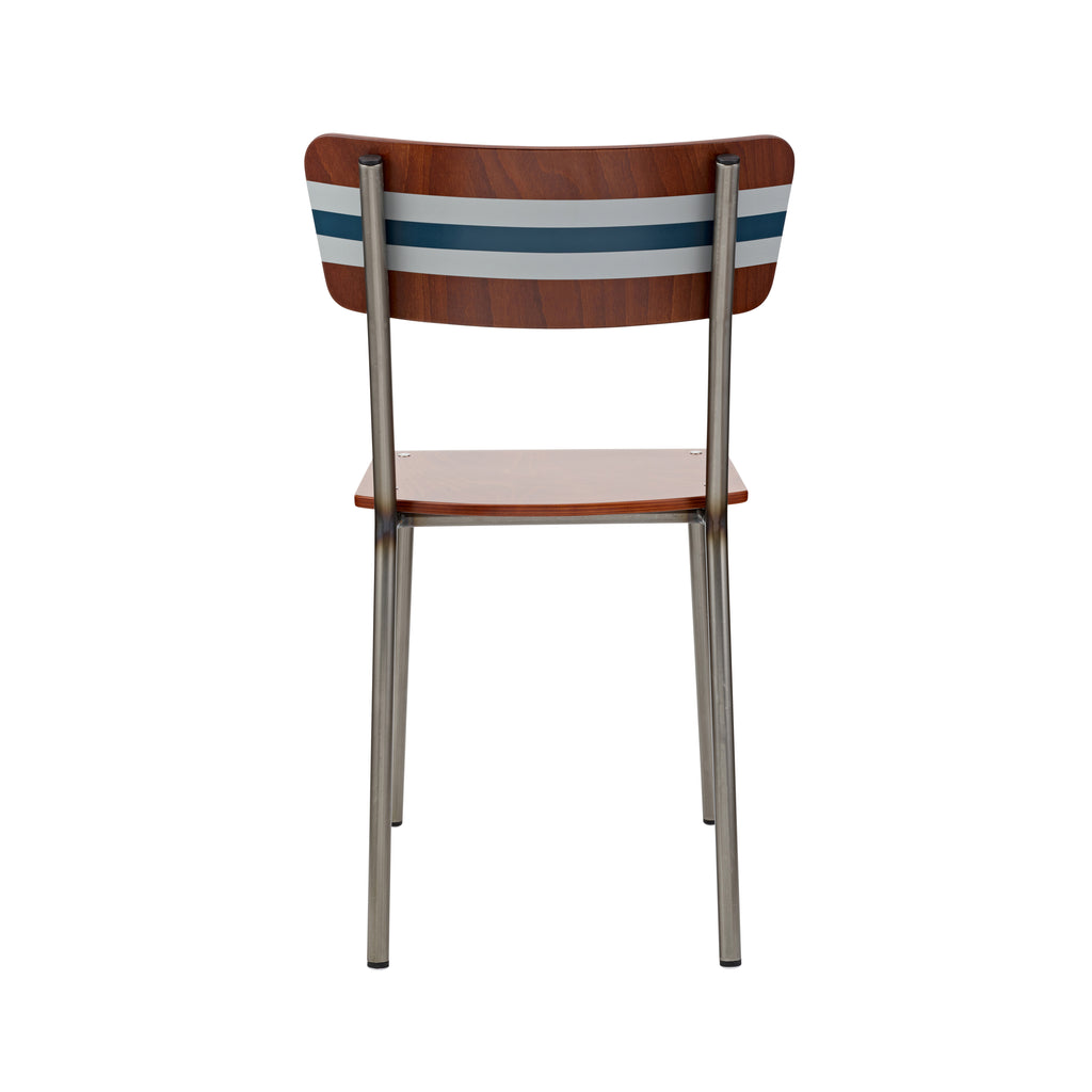 Vintage Industrial Classic School Chair With Silver And Hague Blue Stripe