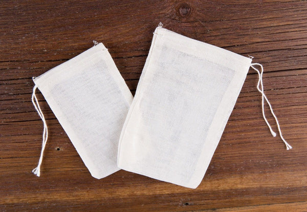 Cotton Muslin Reusable Tea Bag (4in x 6in) - 25 Pack