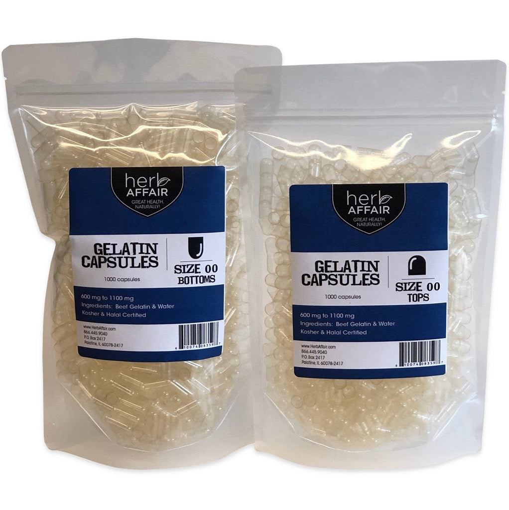 "Separated Empty Gelatin Capsules ""Size 00"" (1000 ct)"
