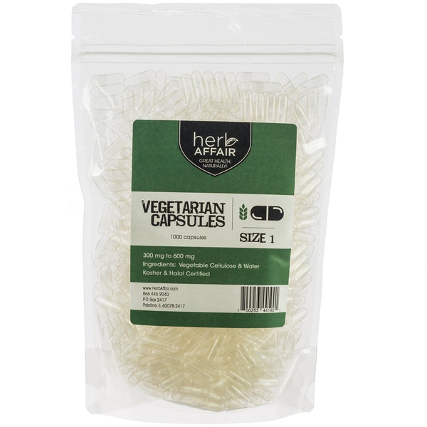 "Empty Vegetarian Capsules ""Size 1"" (1000 ct)"