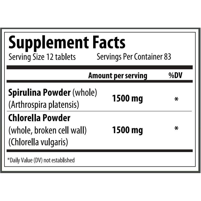 Super Algae - Chlorella & Spirulina Tablets (83 Servings)