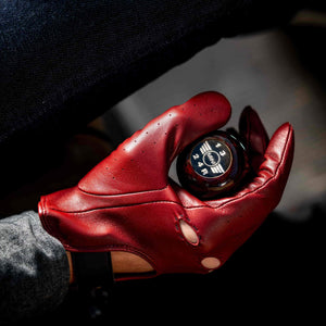 Leather driving gloves red