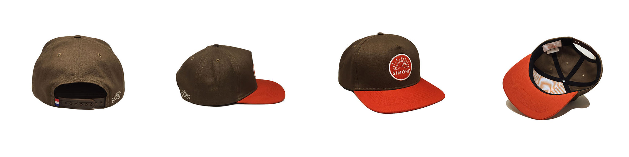 Casquette Simone Headwear Snapback Marron Orange Patch