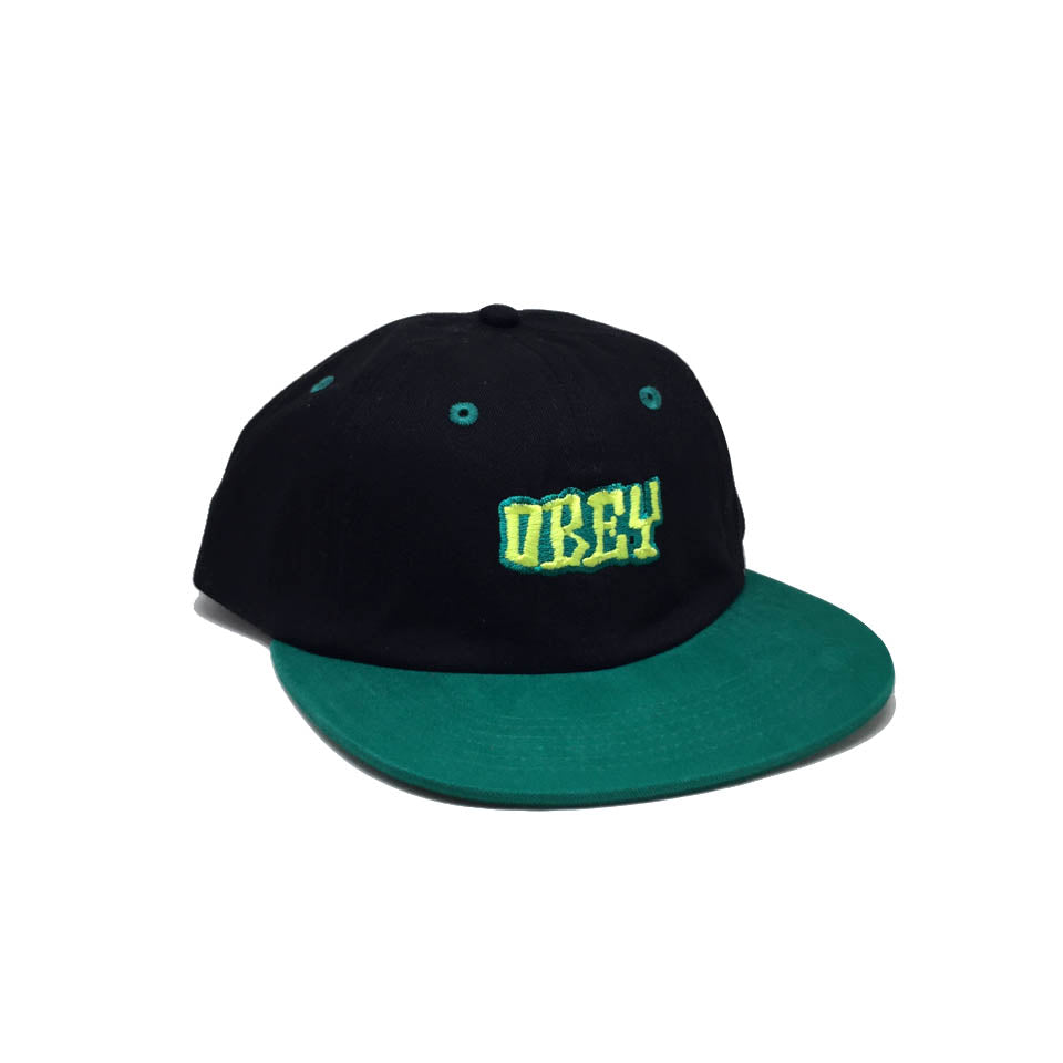 Casquette Obey Bicolore Noir Vert - Better Days 6 Panel Hat Black