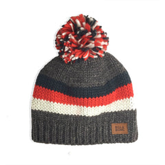 Mayfield Dark Grey Gris Bleu Blanc Rouge Pompon Billabong - Bonnet