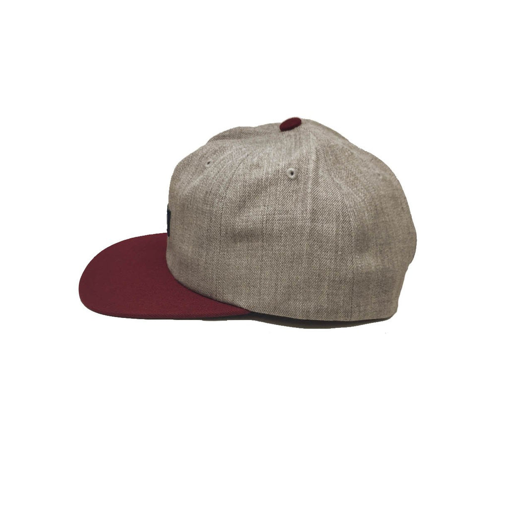 Brixton Langley Light Heather Grey Burgundy