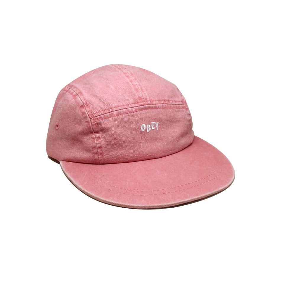 Casquette Obey Decades 5 Panels Hat Pale Coral Rose Délavé