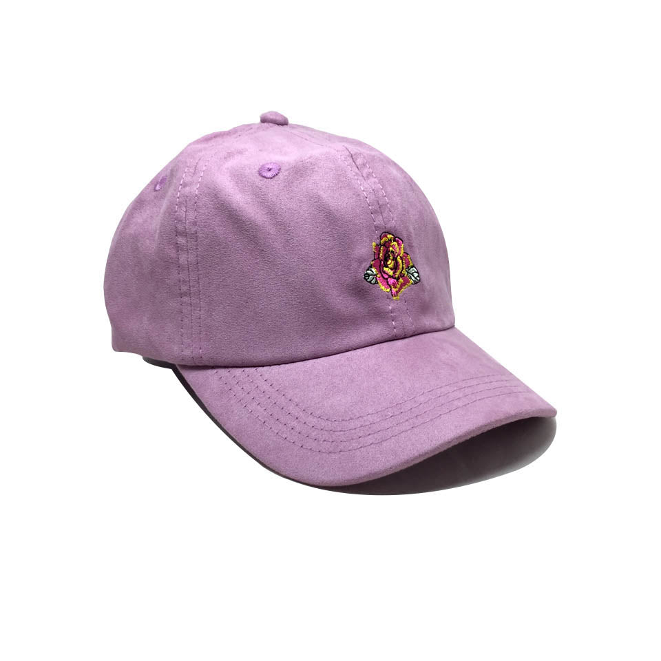 Casquette Obey Curve Suede violet Broderie Rose  - Michelle Cap Orchid