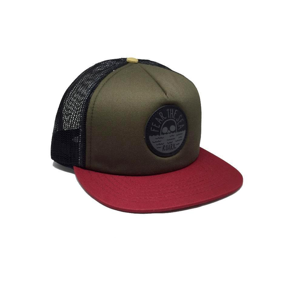 Casquette Roark Fear The Sea Trucker Army Rouge Kaki Noir Jaune