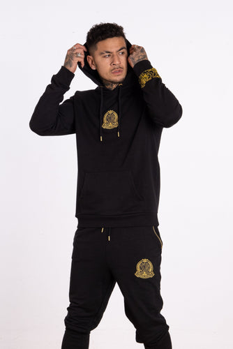 Baroque Embellished Crest Hoody - Black - Serious Royalty