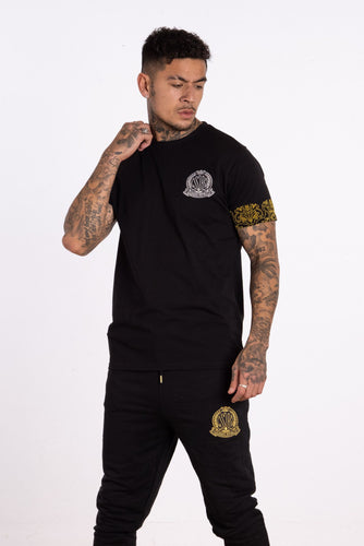Baroque Embellished Signature T-shirt - Black - Serious Royalty