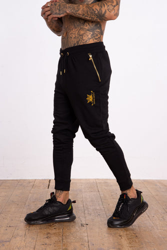 Gold Crown Flock Joggers - Black - Serious Royalty
