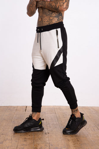 Monochrome Cut & sew Panel Jogger - Black - Serious Royalty