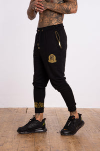Baroque Embellished Crest Jogger - Black - Serious Royalty