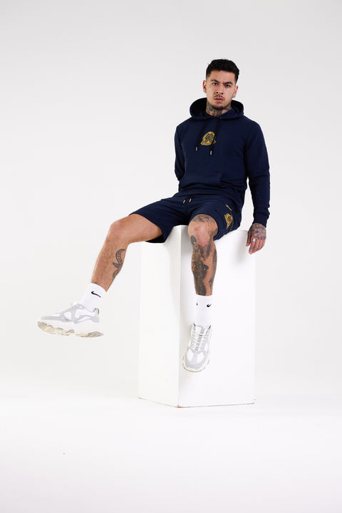 Signature Crest Hoody - Navy - Serious Royalty