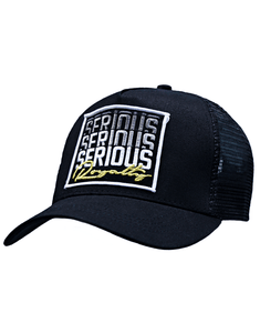 SERIOUS REPEATED MESH TRUCKER CAP - BLACK - Serious Royalty