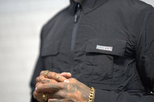 Overshirt Utility Jacket with Chest Pockets - Black - Serious Royalty