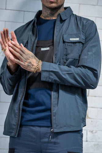 Overshirt Utility Jacket with Chest Pockets - Navy - Serious Royalty