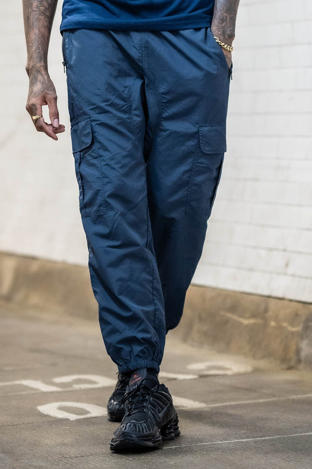 Cropped Utility Combat Track Pant - Navy - Serious Royalty