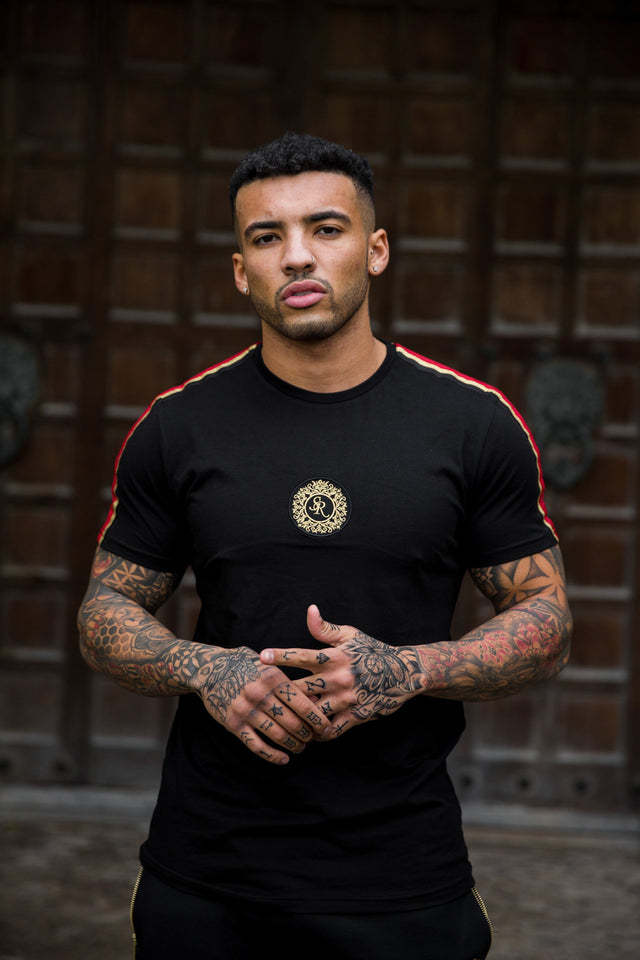 Luxe Tape Crew Neck T Shirt Black - Serious Royalty