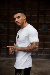 Gold Lurex Trim Ringer T-shirt - White - Serious Royalty