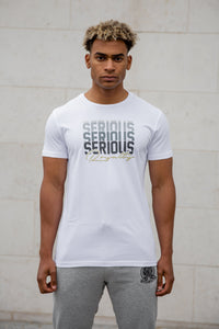 White T-Shirt with Serious Print & Lurex Royalty Embroidery - Serious Royalty
