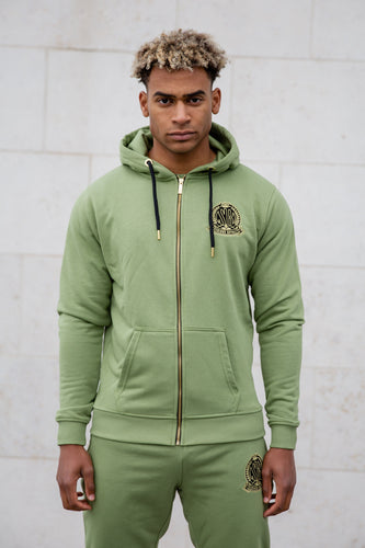 Light Khaki Signature Zip Hoody Tracksuit Jacket - Serious Royalty