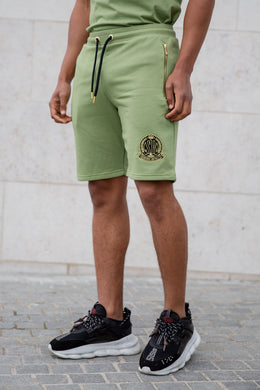 Light Khaki Signature Shorts With Evolved Badge - Serious Royalty