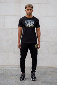 Black T-Shirt With Serious Print & Lurex Royalty - Serious Royalty