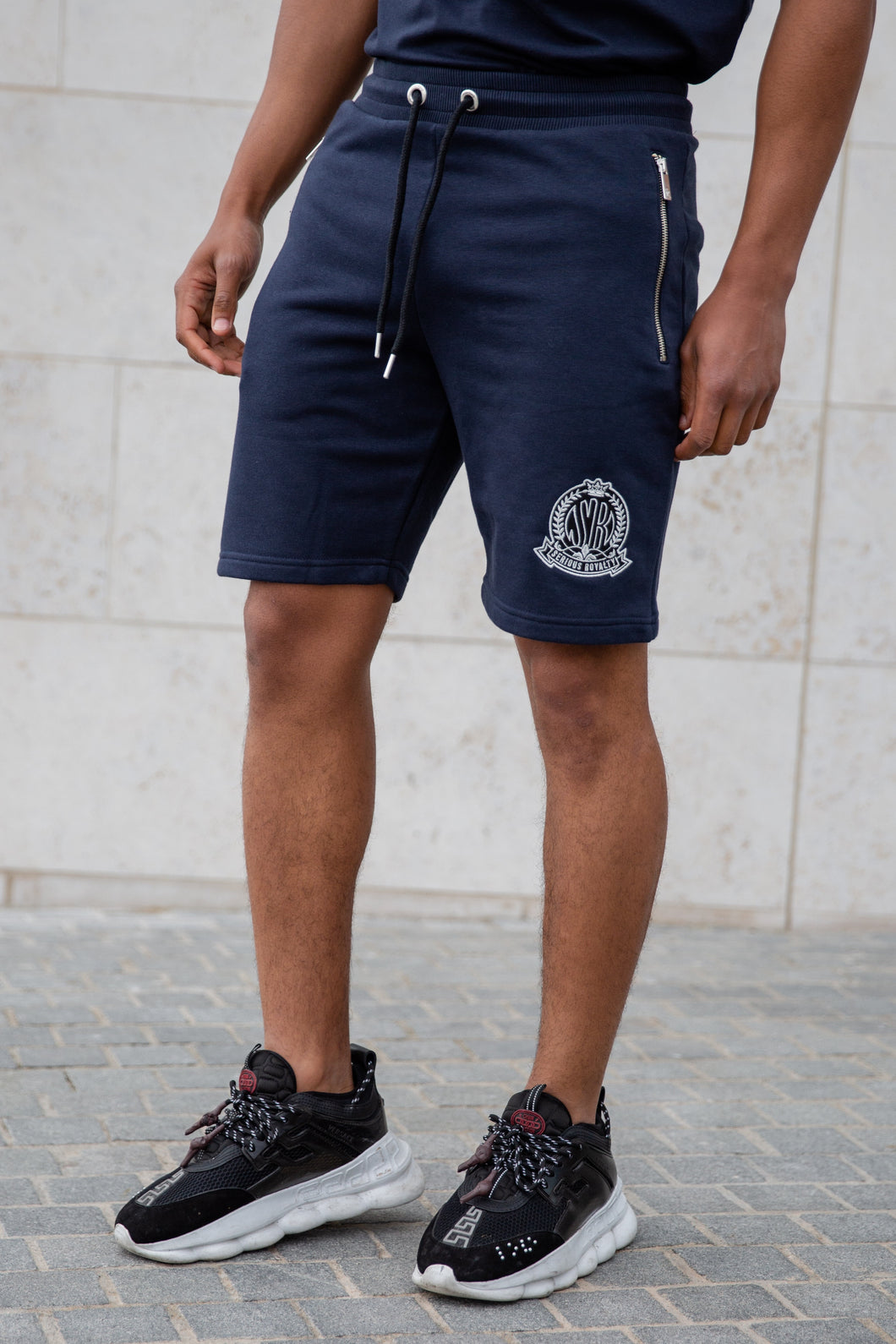 Navy Signature Shorts With Evolved Badge - Serious Royalty