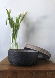 Tortillero Basket - Natural Palm & Black