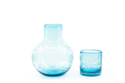 "Decanter & Small Tumbler Glass Set ""Flores"" - Turquoise"