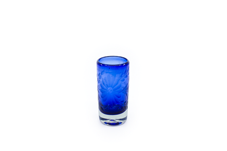 "Shot Glass ""Flores"" - Cobalt Blue"
