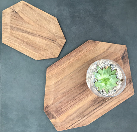 Faceted Small Board in Parota Wood