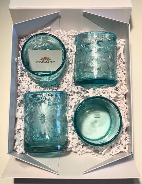 "Gift Box ""Flores"" Glasses - Turquoise"