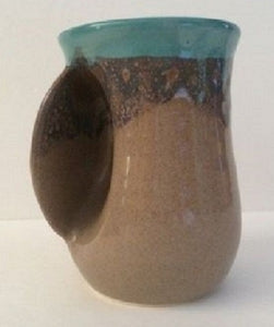 Hand Warmer Mug Island Oasis Left Hand by Clay In Motion Pottery