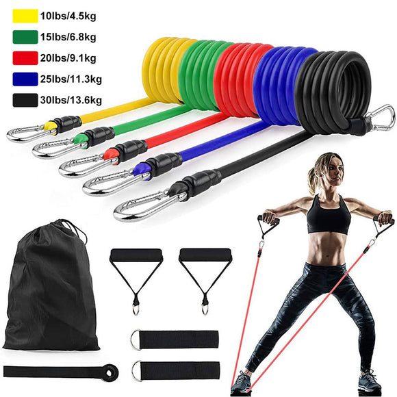 11Pcs/Set Latex Resistance Bands Crossfit Training Exercise Yoga Tubes Pull Rope Rubber Expander Elastic Bands Fitness Equipment