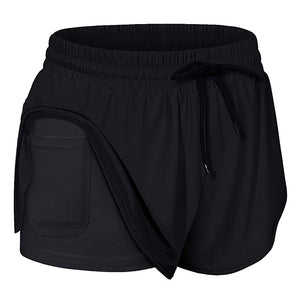 Quick Dry High Waisted Workout Yoga Sport Running Shorts Women Double Layer Fitness Training Shorts with Phone Pocket #N