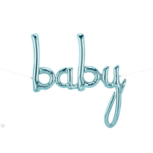 Baby Blue Script Balloons