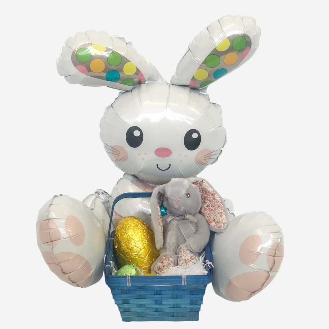 Easter Bunny Basket of Eggs Blue Inflated