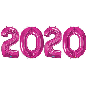 Large 2020 PINK Foil Balloon