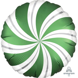 "Candy Swirl Emerald Green 18"" Foil Balloon"
