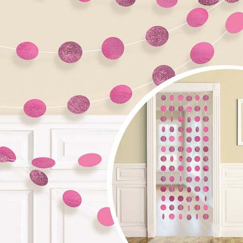 Bright Pink Glitter Dot Garland